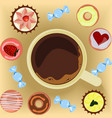 cup of coffee with donuts vector image vector image