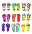 Flip flops funny designs vector image vector image