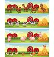 Four scenes of farm animals in the farm vector image vector image