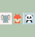fox elephant and panda vector image vector image