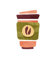 fresh coffee in big plastic cup with lid hot vector image vector image