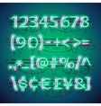 glowing double neon green numbers vector image vector image