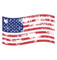 grunge waving american flag icon grunge vector image