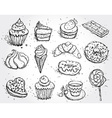 Hand drawn confectionery set croissant Cupcake vector image vector image