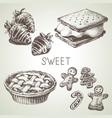 hand drawn sketch sweet dessert set black vector image