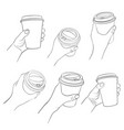 hand with coffee cup vector image vector image