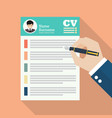 hand writing curriculum vitae application paper vector image