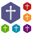 holy cross icons set hexagon vector image vector image