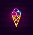 ice cream neon sign vector image