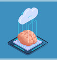 isometric brain chip composition vector image