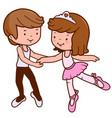 little boy and girl ballet dancers