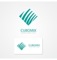Logo with a combination of cube and waves vector image vector image