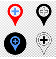 medical map marker eps icon with contour vector image