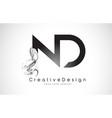 nd letter logo design with black smoke vector image vector image