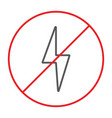 no electricity thin line icon prohibited and ban vector image vector image
