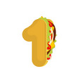number 1 tacos mexican fast food font one taco vector image