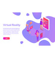 people in vr glasses virtual reality web page vector image