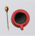 realistic cup of coffee with a golden teaspoon an vector image vector image