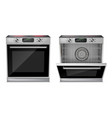 realistic oven with induction cooktop vector image vector image