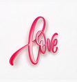 realistic red gold metallic lettering love vector image