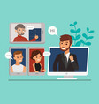 remote working with a business team meeting held vector image