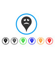sadly smiley map marker rounded icon vector image vector image