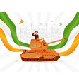 saluting army officer on military tank with wavy