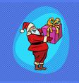 santa claus with gift box comic cartoon pop art vector image vector image