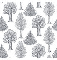 seamless pattern with hand drawn trees in vector image vector image