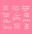 set hand drawn lettering about spring holidays vector image