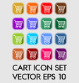 set of cart icons rounded square in different vector image vector image