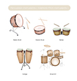 Set of Drum Instruments with Drumsticks vector image vector image