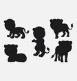 set of lion silhouettes cartoon with different pos vector image