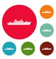 ship military icons circle set vector image