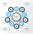 shipment colorful icons set collection of cab vector image vector image