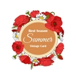 Summer hand drawn floral vintage card with Poppy vector image