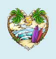 summer love heart shape design contains beach vector image