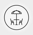 table and chairs under umbrella beach cafe vector image