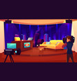 television studio with camera broadcasting room vector image