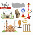 turkey travel destination landmarks and cuisine vector image vector image