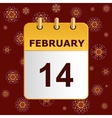 Valentine s day calendar icon on lace pattern vector image vector image