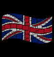 waving united kingdom flag pattern of open book vector image