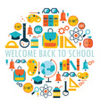 welcome back to school background with study theme vector image vector image