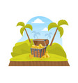wooden pirate ancient chest gold on tropical vector image vector image