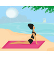 Yoga girl in dog position vector image