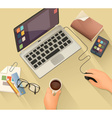 Workplace background flat design vector image