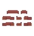 Set of modern chocolate sofa and armchair vector image