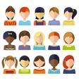 Flat Children Heads Icon Set vector image