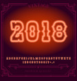 2018 happy new year holiday bright neon alphabet vector image