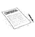 artistic drawing of handwritten confidential vector image